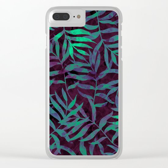 Watercolor Tropical Palm Leaves VII Clear iPhone Case