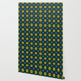Blue and yellow floral vines Wallpaper