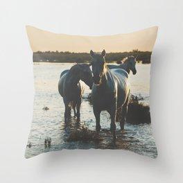 Camargue Horses III ... Throw Pillow