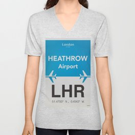 LHR Heathrow airport Unisex V-Neck