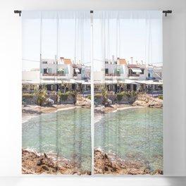 White Village In Greece Photo | Summer On Crete Island Beach Art Print | Europe Travel Photography Blackout Curtain