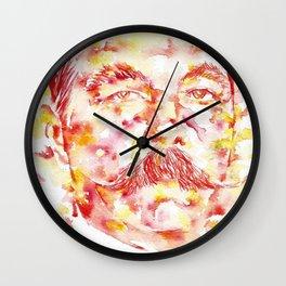 ARTHUR CONAN DOYLE - watercolor portrait.1 Wall Clock