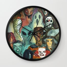 monsters watercolor squad Wall Clock