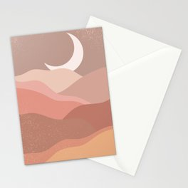 Minimalist Minimal Mountain Landscapes Colour Block Moon Pastel Neutral Colours Midcentury Modern Cool Magical Mystical Abstract Art Bohemian Boho Style Trendy  Stationery Cards