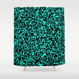 Abstract fractal blue marbleized psychedelic plasma Shower Curtain