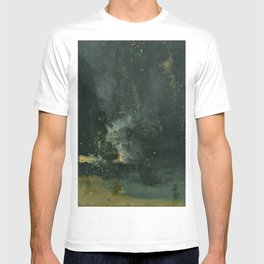 Nocturne In Black And Gold The Falling Rocket By James Mcneill Whistler | Reproduction T-shirt