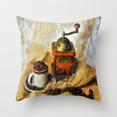 Coffee Grinder and Coffee Cup Throw Pillow