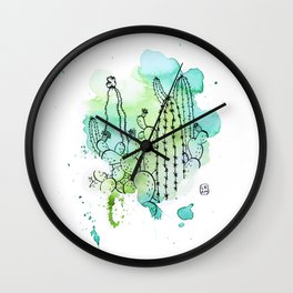 Watercolor cactus Wall Clock