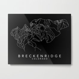 BRECKENRIDGE B&W // Colorado Trail Map White on Black Runs Minimalist Ski & Snowboard Illustration Metal Print