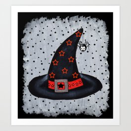 Black Witch Hat Silver Buckle Black Stars Cute Dangling Spider Art Print