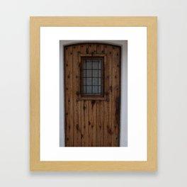 Old Brown Knotty Wooden Door Framed Art Print