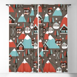 Winter Wonderland retro ski fox Blackout Curtain