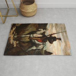 """Honoré Daumier """"Don Quixote in the Mountains"""" Rug"""