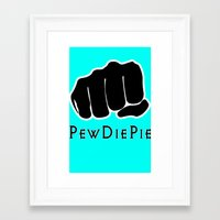 pewdiepie Framed Art Prints featuring Pewdiepie by rita rose
