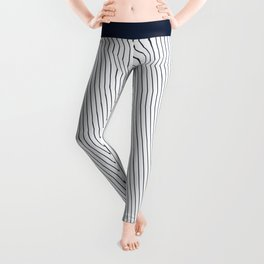 Yacht style. Navy blue diagonal stripes. Leggings