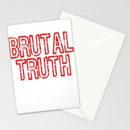 """Red and harsh tee design with text """"Brutal Truth"""". Makes a unique but fab gift for everyone!  Stationery Cards"""