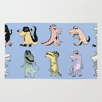 dinosaurs Area & Throw Rugs featuring Dinosaurs by BlandinePannequin