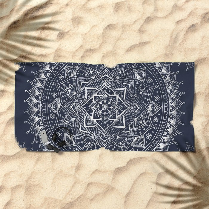 White Flower Mandala on Dark Blue Beach Towel