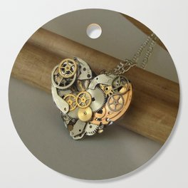 Steampunk Heart of Gold and Silver Cutting Board