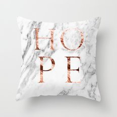 Marble rose gold hope Throw Pillow