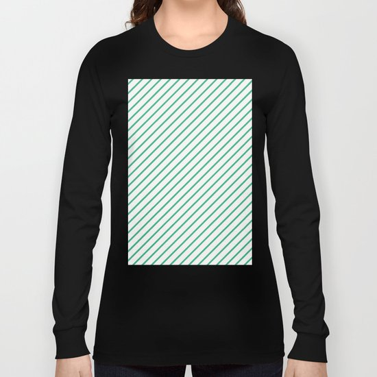 Diagonal Lines (Mint/White) Long Sleeve T-shirt
