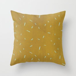 Vintage chic yellow mustard blue watercolor brushstrokes Throw Pillow