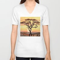 africa V-neck T-shirts featuring Africa by ArT RefugiuM