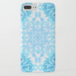 Symmetrical Pattern in Blue and Turquoise iPhone Case