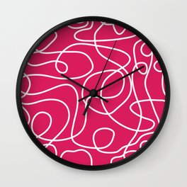 Doodle Line Art | White Lines on Deep Pink Wall Clock