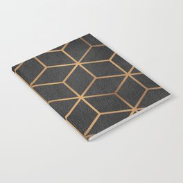 Charcoal and Gold - Geometric Textured Cube Design I Notebook