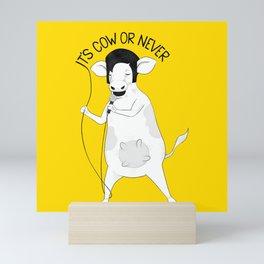 Cow singing Elvis Presley | Animal Karaoke | Illustration Mini Art Print