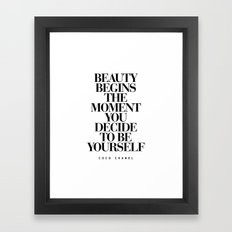 Beauty Begins quote Typography Print Framed Art Print