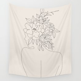 Woman with Flowers Minimal Line I Wall Tapestry