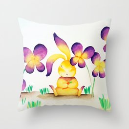 Bunny Rabbit in Colorful Flower Garden Throw Pillow