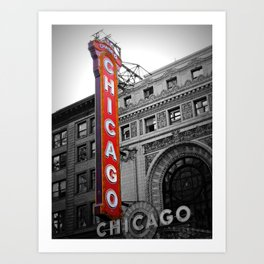 Chicago Theater in Selective Color Art Print