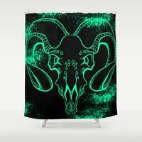 bull Shower Curtains featuring Bull by Littlefox