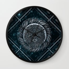 Leo Zodiac Silver Embossed on the Star sky Wall Clock