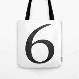 Number 6 (Black) Tote Bag