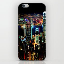 Hong Kong City Skyine Black Night iPhone Skin