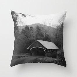 New England Classic Covered Bridge Throw Pillow