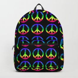 Rainbow Watercolor Peace Sign - Black Background Backpack