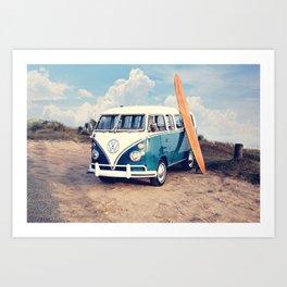 Vintage Beach Bus Art Print