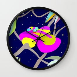 Graphic colorful illustration of two pythons on a tree Wall Clock