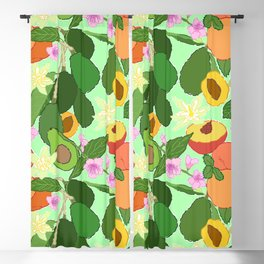 Avocado + Peach Stone Fruit Floral in Mint Green Blackout Curtain