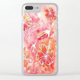 Hibiscus | Tropical Watercolor in Coral, Pink, Orange | #hibiscus #tropicalflower Clear iPhone Case