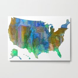 Usa Colorful Map Metal Print
