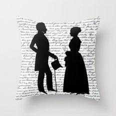 Pride and Prejudice design - White Throw Pillow