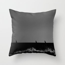 Sailboats from the seashore Throw Pillow