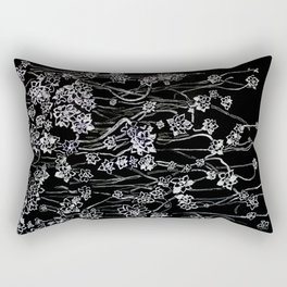 White ink. graphic with white ink  and black cardboard. flowers Rectangular Pillow