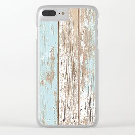 WOOD BLUE TEXTURE Clear iPhone Case
